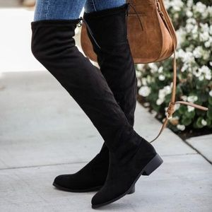 Twilight Gypsy Collective Shoes - Vegan Suede Over the Knee Black Boots